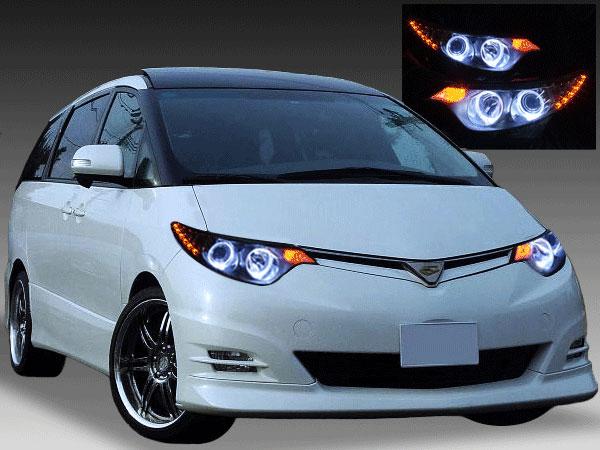 50エスティマ/20エスティマハイブリット 前期 ドレスアップヘッドライト LEDイカリング&白LED18発増設&橙LED12発増設&インナーブラック塗装