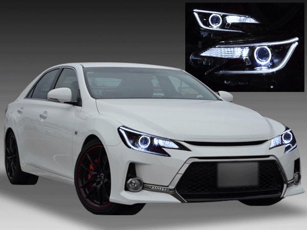 130系 マークX 中期 ドレスアップヘッドライト LEDイカリング&白LED12発増設&純正ラインポジション部LED色替え加工&インナーブラック塗装 仕様