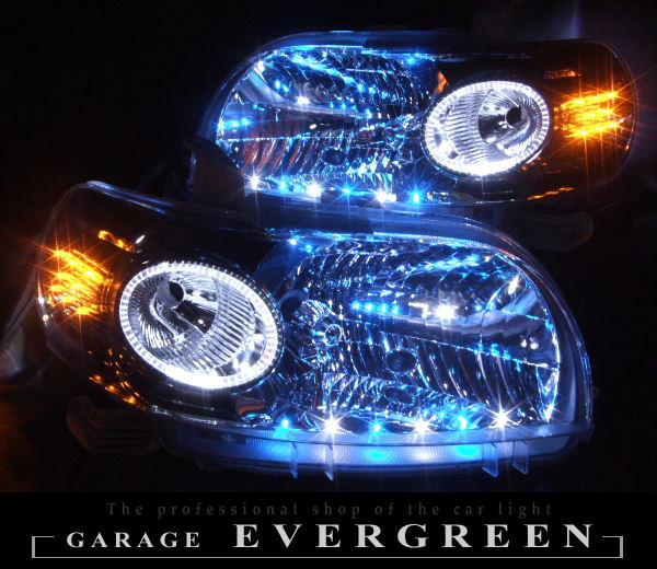 NNP10 ポルテ オーダー加工 ドレスアップヘッドライト イカリング&青白橙LED増設 仕様