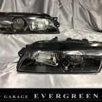 R32 スカイライン/GT-R 前期/後期 純正ドレスアップヘッドライト インナーブラック塗装