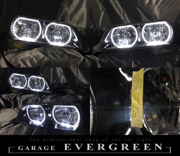 100系 チェイサー 純正HID車用  純正ドレスアップヘッドライト ツアラーV/S LEDイカリング&インナーブラック塗装
