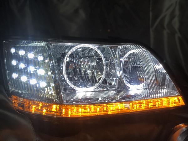 ワンオフ加工■17系 マジェスタ 全年式 シーケンシャルウインカー&白LED増設&LEDイカリング 仕様 純正ドレスアップヘッドライト