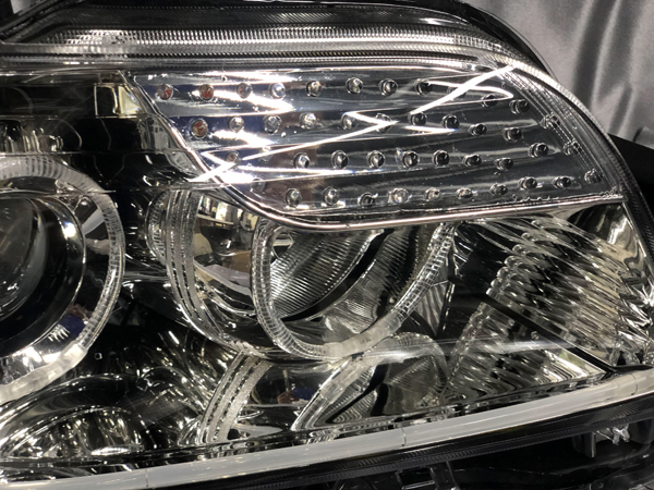ワンオフ加工■E15 カローラ ルミオン■ウインカーLED化&LEDイカリング&ファイバー&白LED増設 仕様 純正ドレスアップヘッドライト