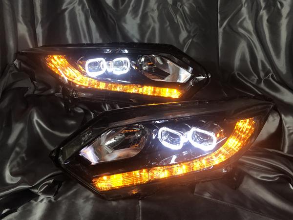 オーダー加工■RU系 ヴェゼル 前期■シーケンシャルウインカー仕様&白LED増設&スクエアイカリング 純正ドレスアップヘッドライト