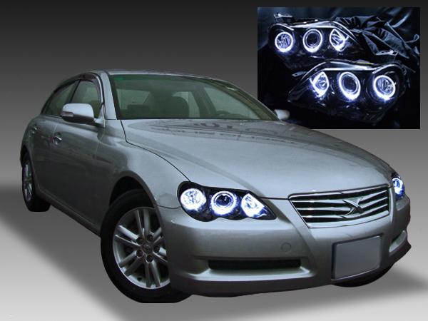 120系 マークX 後期 純正HID・AFS無し車用 純正ドレスアップヘッドライト LEDイカリング&インナーブラック塗装