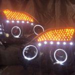 ワンオフ■T31 エクストレイル 前期 シーケンシャルウインカー&LED増設&インナーブラック塗装&LEDイカリング仕様 純正ドレスアップヘッドライト