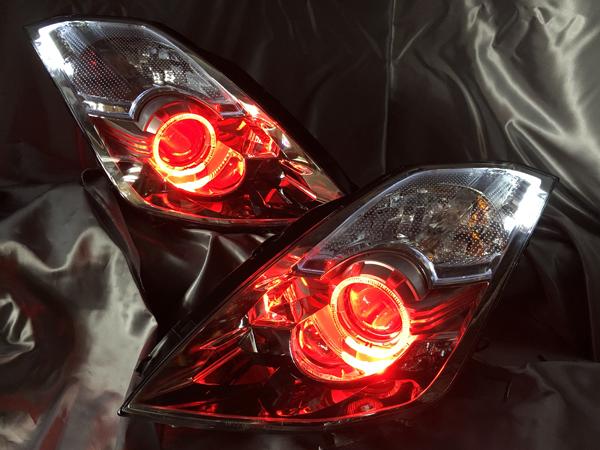 ワンオフ加工■Z33 フェアレディZ 後期 プロジェクター内レッドアイ&レッドLED増設&イカリング&プロジェクター周り白LED増設&サイド白橙切替え 仕様 純正ドレスアップヘッドライト