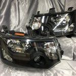 オーダー加工■デリカ D5 インナー艶消しブラック塗装&コーティング加工 純正ドレスアップヘッドライト