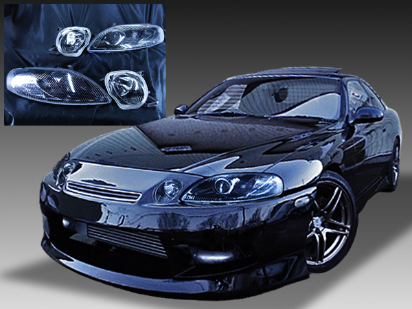30系 ソアラ 全年式共通 純正ドレスアップヘッドライト インナーブラック塗装&ウィンカークリア加工 仕様