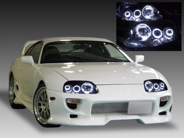 JZA80 スープラ 後期 純正ドレスアップヘッドライト LEDイカリング&インナーブラック塗装&RGBフルカラーLEDプロジェクター 仕様