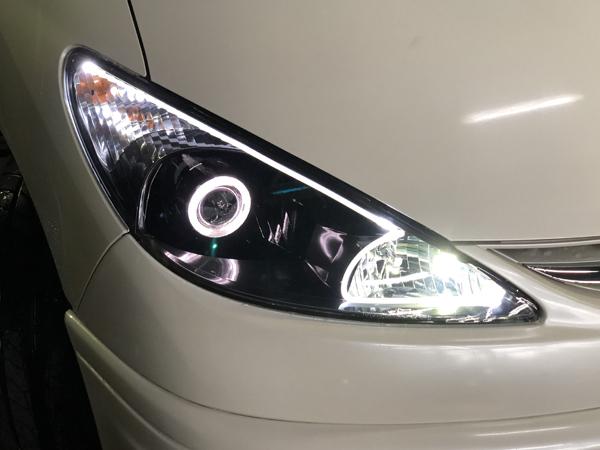30/40 エスティマ 前期 インナーブラック塗装&バイキセノンプロジェクター移植&LEDアクリルファイバー 仕様 純正ドレスアップヘッドライト