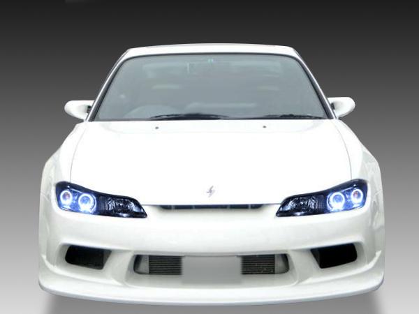 S15 シルビア 純正ドレスアップヘッドライト 純正ハロゲン車用 4連LEDイカリング&インナーブラック塗装&RGBフルカラーLEDプロジェクタ-仕様