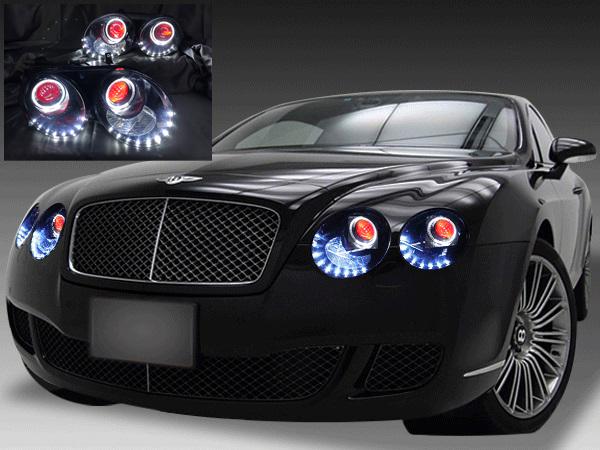 ベントレー コンチネンタルGT/GTC/フライングスパー 純正ドレスアップヘッドライト インナーブラック塗装&プロジェクター内レッドアイ&レッド塗装&LEDイカリング&白橙LED増設 仕様