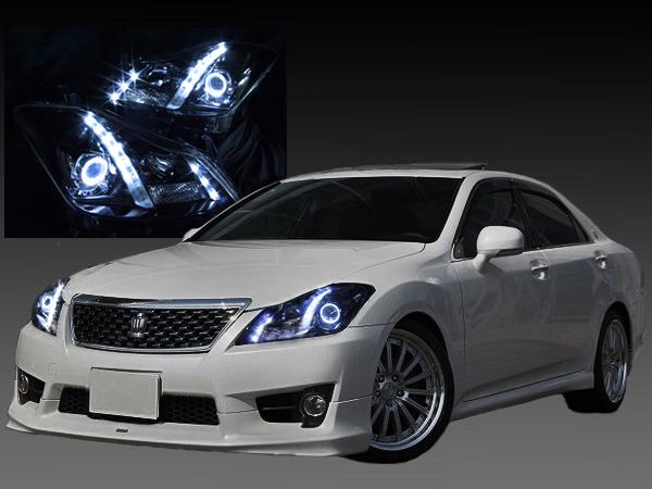 200系 クラウン アスリート/ロイヤルサルーン 前期/後期 純正ドレスアップヘッドライト LEDイカリング&白LED増設&インナーブラック塗装&RGBフルカラーLEDプロジェクター 仕様