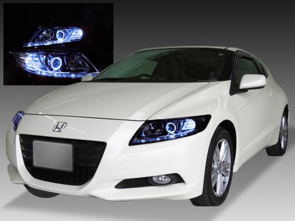 ZF1/ZF2 CR-Z 前期/中期 純正HID車用  純正ドレスアップヘッドライト LEDイカリング&白LED14発増設&橙LED8発増設&RGBフルカラーLEDプロジェクター仕様