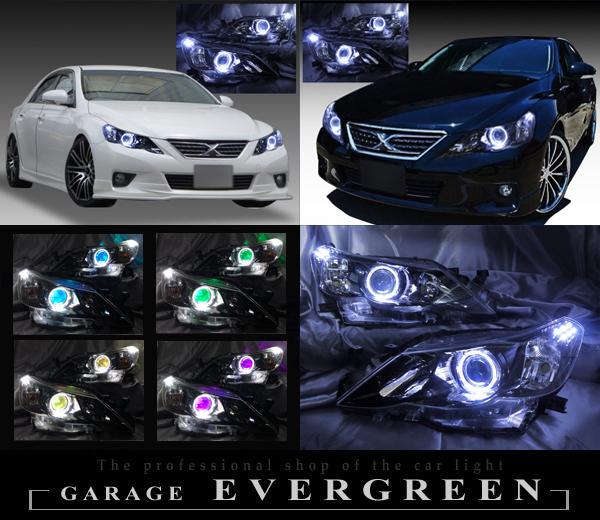 130系 マークX 前期 純正ドレスアップヘッドライト LEDイカリング&&RGBフルカラーLEDプロジェクター&白LED増設&インナーブラック塗装 仕様