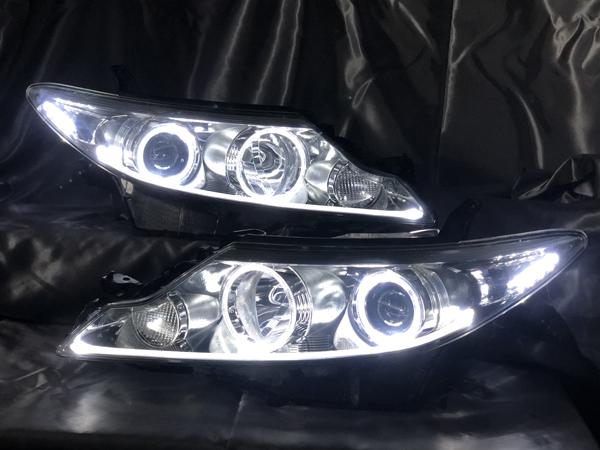現物加工 50系 エスティマ 中期 LEDイカリング&下部イルミファイバー&白LED増設 仕様 純正加工品ドレスアップヘッドライト