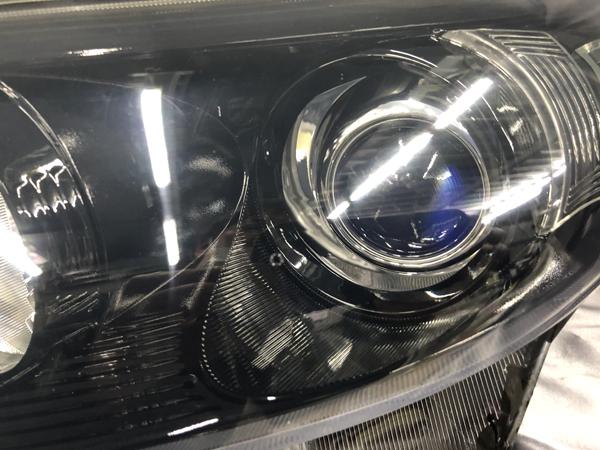 ワンオフ加工 50系 エスティマ 中期 ブルーアイ&インナーブラック塗装 純正加工品 ドレスアップヘッドライト