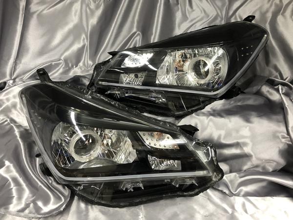 現物加工 130系 ヴィッツ 中期 NSP130/KSP130/NHP130 キセノンプロジェクター移植&LEDイカリング&ウインカーフルLED化&アクリルLEDファイバー 仕様 純正加工品 ドレスアップヘッドライト