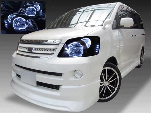 60系 ノア 後期 純正HID車用 純正ドレスアップヘッドライト LEDイカリング&白LED増設&インナーブラック塗装