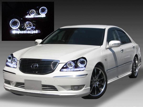 18系 クラウンマジェスタ ナイトビューアシスト無し車用 純正ドレスアップヘッドライト シーケンシャルウインカー&LEDイカリング&白LED増設&インナーブラック塗装&RGBフルカラーLEDプロジェクター 仕様