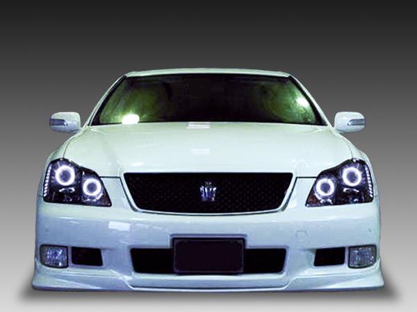18系 クラウン アスリート 純正HID車用 AFS有り車 純正ドレスアップヘッドライト Wバイキセノンプロジェクター&CCFLイカリング&白LED増設&インナーブラック塗装