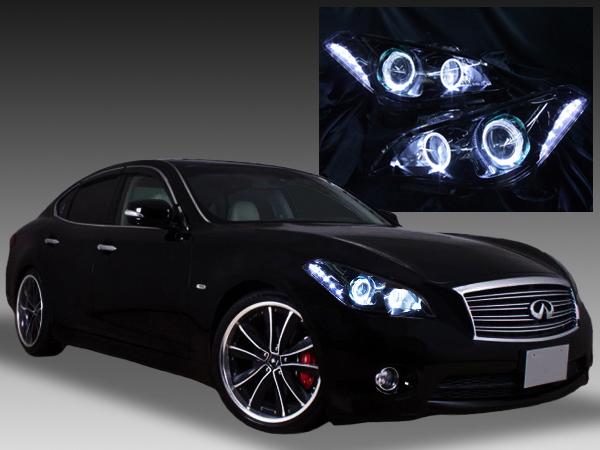 Y51フーガ/Y51シーマ・ハイブリッド 前期  HID用・AFS有り 純正ドレスアップヘッドライト LEDイカリング&白LED増設&インナーブラック塗装&RGBフルカラーLEDプロジェクター 仕様