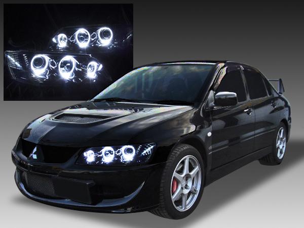 三菱 CT9A ランサーエボリューションⅦ・Ⅷ・Ⅸ/CT9W ランサーエボリューションワゴン 純正HID車用 純正ドレスアップヘッドライト RGBフルカラーLEDプロジェクター&LEDイカリング&インナーブラック塗装&ウィンカークリア仕様