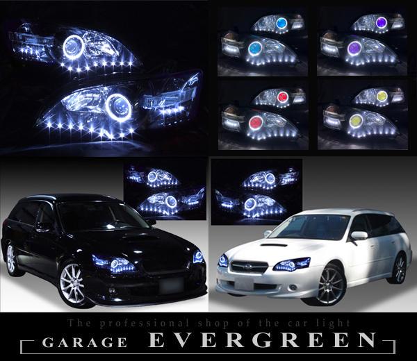 BP/BL レガシィ前期 純正HID車用 純正加工品ドレスアップヘッドライト LEDイカリング&白LED26発増設&インナーブラック塗装