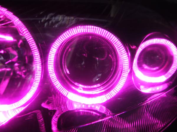 オーダー加工 JZA 80 スープラ 後期6 連ピンクLEDイカリング&コーティング加工 仕様 純正加工品 ドレスアップヘッドライト