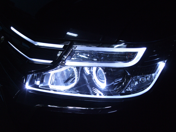 現物加工 RK ステップワゴン 後期 グリル&ヘッドライトLED色替え&イカリング&LEDファイバー仕様 純正加工 ドレスアップヘッドライト
