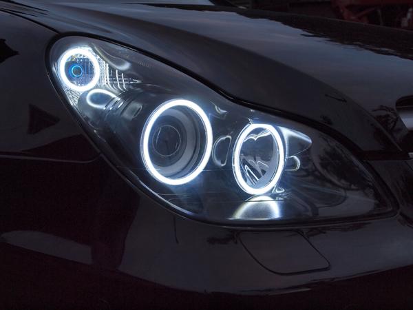 オーダー加工 W219 CLS インナーブラック塗装&COBイカリング 仕様 純正加工 ドレスアップヘッドライト