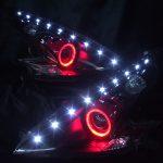 ワンオフ加工 Z34 フェアレディZ インナー艶消しブラック&プロジェクター回りレッド塗装&白LED増設&赤LEDイカリング 仕様 純正加工 ドレスアップヘッドライト