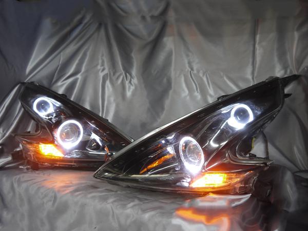 ワンオフ加工Z34フェアレディZインナーブラック塗装&サイドマーカー塗装(ニスモ風)&LEDイカリング&橙LED増設
