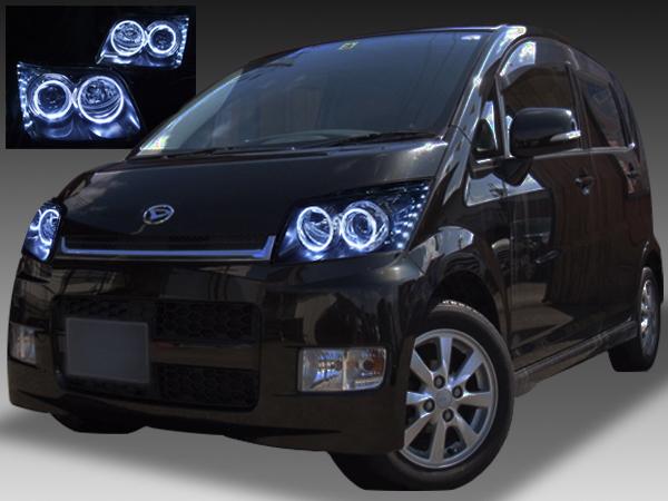 L175S/L185S系 ムーヴカスタム 前期 純正HID車用 純正ドレスアップヘッドライト RGBプロジェクター&LEDイカリング&白LED増設