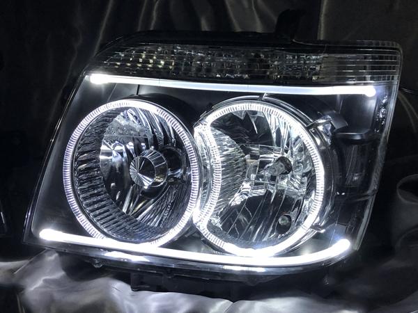 受注オーダー加工 S320/S330 アトレーワゴン アクリルイルミLEDファイバー&LEDイカリング仕様 純正加工 ドレスアップヘッドライト