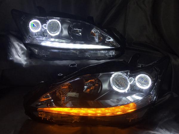 オーダー加工1 レクサス CT200h 前期/中期 純正加工 ドレスアップヘッドライト LEDイカリング&白LED増設&シーケンシャルウインカー 仕様