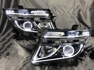 受注生産 E52 エルグランド 前期 AFS有 インナーブラック塗装&アクリルファイバー&LEDイカリング 仕様 純正加工 ドレスアップヘッドライト