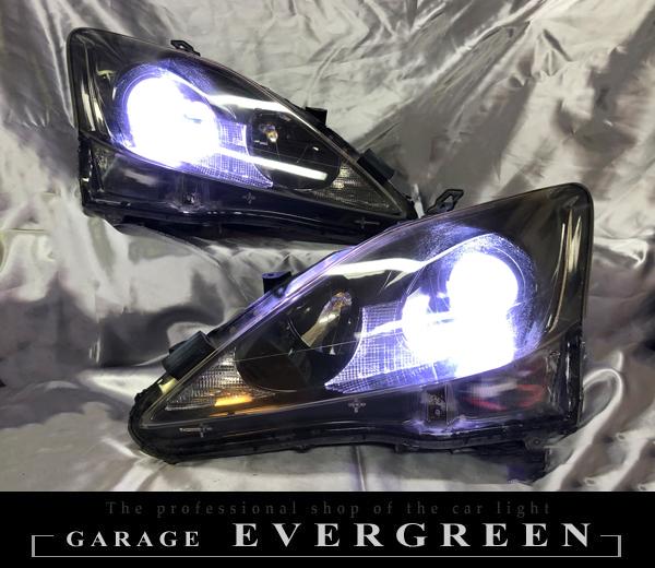 20系 IS 前期/中期  純正加工ドレスアップヘッドライト インナーブラック塗装&レンズコーティング加工済み