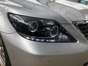 LS460 中期 LEDイカリング&白橙LED増設 仕様 純正加工 ドレスアップヘッドライト