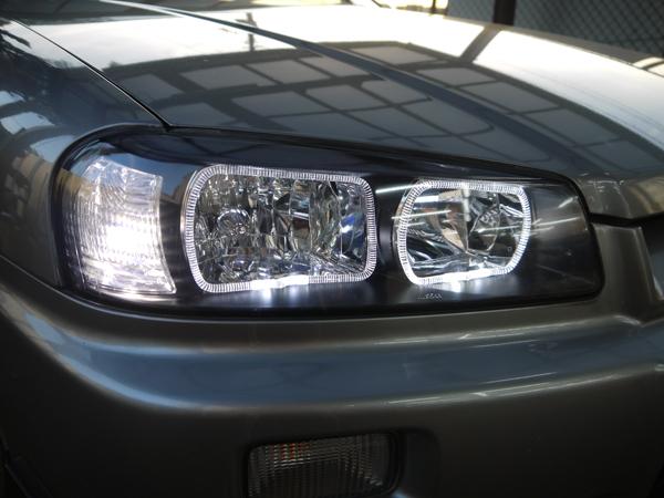 R34 スカイライン 前期/後期 純正加工 ドレスアップヘッドライト LEDイカリング&レンズコーティング加工 純正ハロゲン車用
