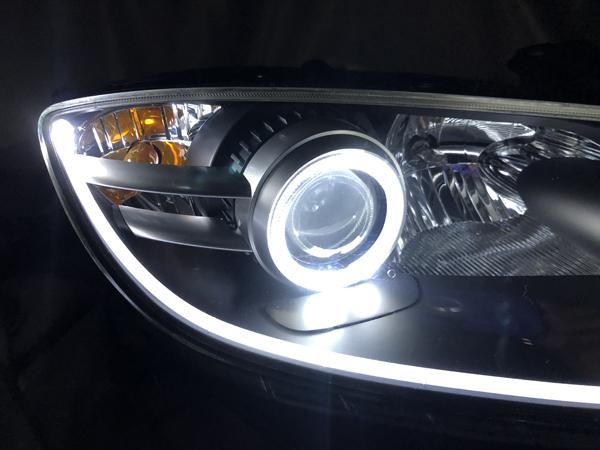 オーダー加工 RX-8 前期 LEDイカリング&アクリルファイバー仕様 純正加工品 ドレスアップヘッドライト 交換・取り付け