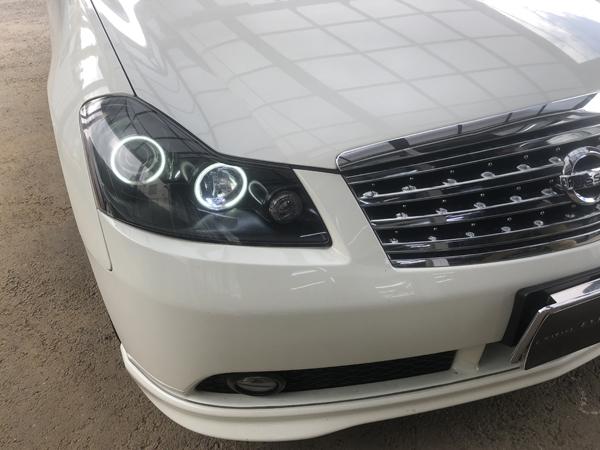 Y50 フーガ GT 社外ヘッドライト 修理 CCFLイカリング インバーター交換