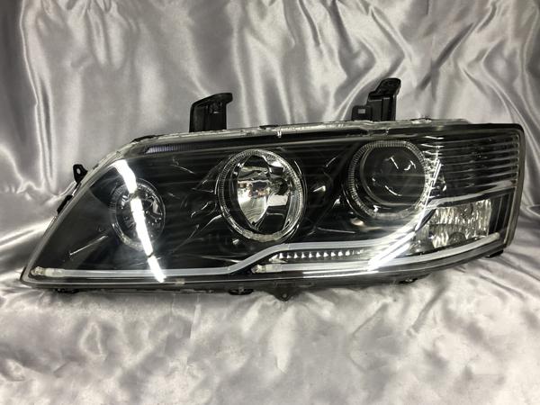 ランエボ7/8/9 CT9A/CT9W インナーブラック塗装&LEDイカリング&アクリルファイバー仕様 純正加工品 ドレスアップヘッドライト ランサーエボリューションⅦ・Ⅷ・Ⅸ