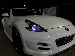 オーダー加工 Z34 フェアレディZ インナー艶消しブラック塗装&RGBプロジェクター&イカリング 仕様 純正加工 ドレスアップヘッドライト