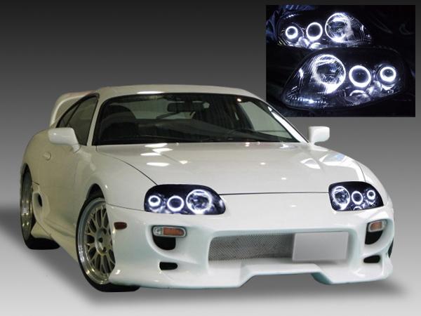 JZA80 スープラ 後期 純正ドレスアップヘッドライト LEDイカリング&インナーブラック塗装 仕様