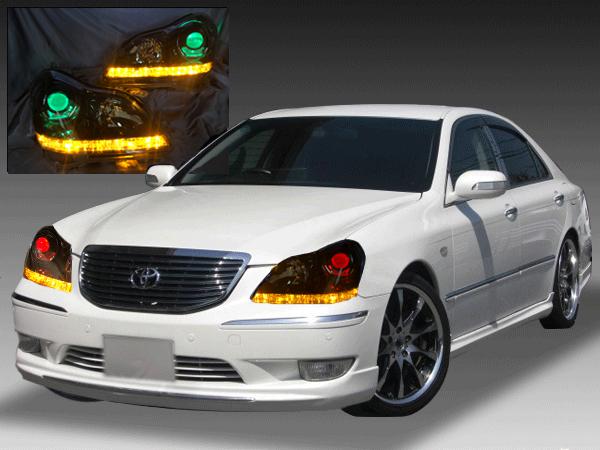 18系 クラウンマジェスタ シーケンシャルウインカー&白LED増設&インナーブラック塗装&RGBプロジェクター 仕様 ナイトビューアシスト無し車用 純正ドレスアップヘッドライト