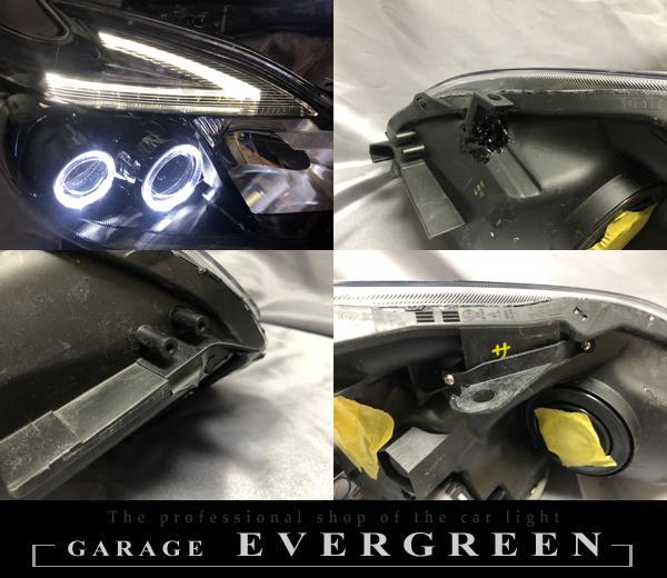 ZVW30 プリウス 後期 LEDイカリング&インナーブラック塗装 仕様 純正加工 ドレスアップヘッドライト