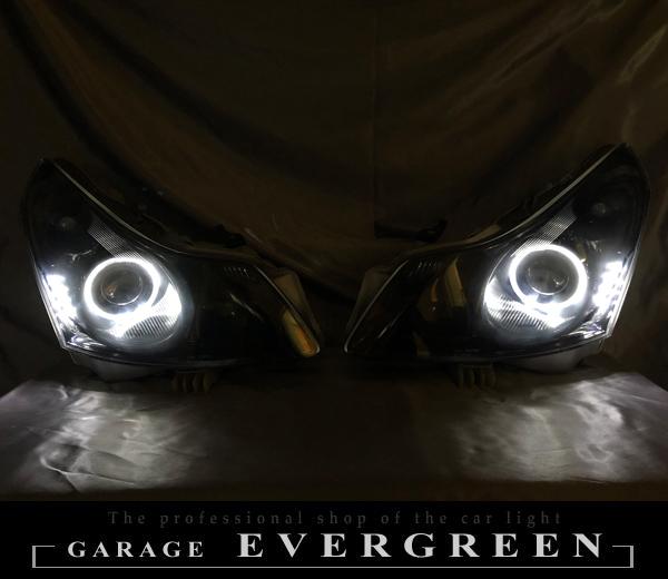 V36 スカイライン 前期 セダン用 純正ドレスアップヘッドライト LEDイカリング&白LED増設&インナーブラック塗装