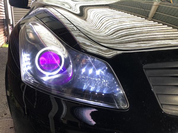 V36 スカイライン 前期 セダン インナーブラック塗装&イカリング&RGBフルカラーLEDプロジェクター&LED増設  仕様 純正加工 ドレスアップヘッドライト